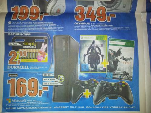 [Lokal Saturn HB Habenhausen ] XBOX 360 Slim 250GB inkl. 2 Spiele und 2 Controller für 169€