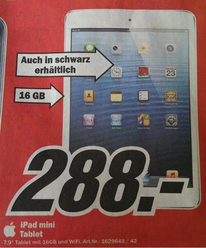 (LOKAL) Apple iPad Mini 16GB schwarz/weiß WIFI @ MediaMarkt Herzogenrath