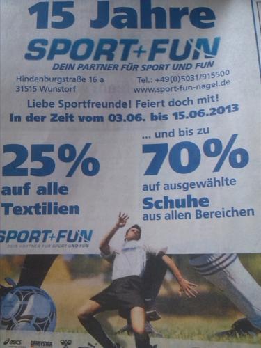 [Lokal Wunstorf] 25% auf Textilien und bis zu 70% auf Schuhe bei Sport+Fun Wunstorf