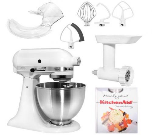 KitchenAid classic, inkl. Fleischwolf, Flexirührer, Spritzschutz und Kochbuch @ QVC