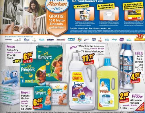 3x Pampers günstig bei Netto Markendiscount dank P&G-Aktion (10-Euro-Gutschein)