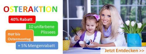 Plissee für Fenster 40% Rabatt + 5% Mengenrabatt – Osteraktion bis Ostermontag