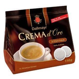 5x Dallmayr Crema d'oro Intensa Pads oder mild&fein + Dallmayr Latte Macchiato Glas @Amazon