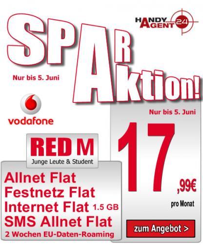 Vertrag Vodafone Red M Spar Junge Leute (Allnet Flat), 17,99€ pro Monat