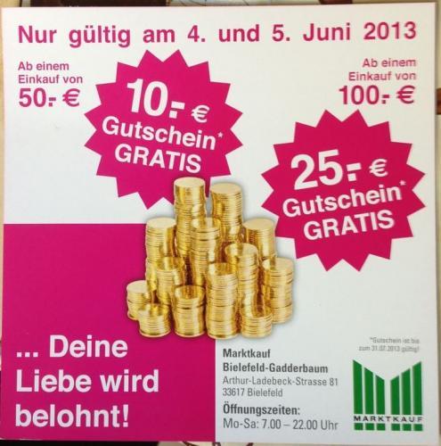 [Lokal Bielefeld Marktkauf] Heute und Morgen bei 100 € Einkauf 25 € Gutschein
