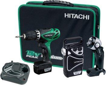 "Hitachi Akkubohrschrauber-Set (2 x Li-Ion Akku,Transporttasche , Lampe , Radio 10.8V ""KC10DHL"" für 94,90€ @ ZackZack"