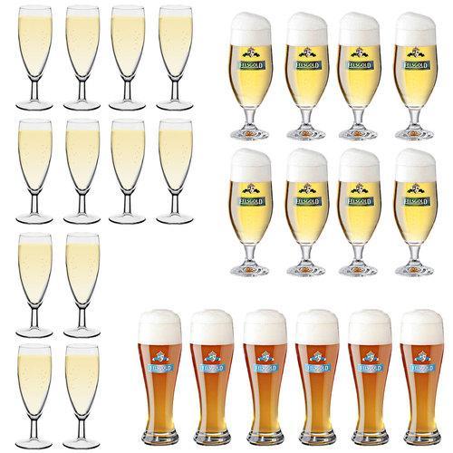 12x Sektglas Champagnerglas oder 8x Biertulpen Bierglas oder 6x Weizenbierglas
