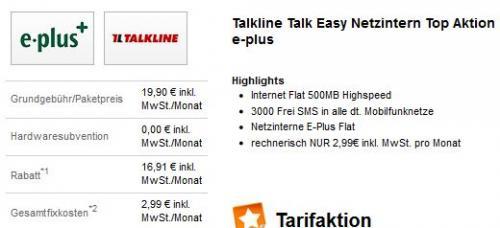 [TALKLINE] E-Plus-Tarif mit 500MB-Flat und mtl. 3000 SMS für 2,99€ pro Monat