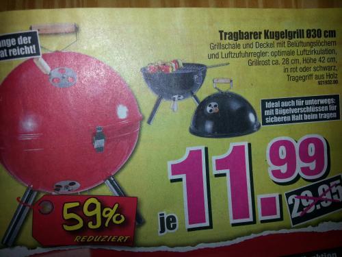 Tragbarer Kugelgrill für 11,99 Euro bei Möbel Boss