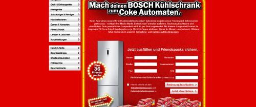 [media-markt]Bosch Kühlschrank kaufen und einen Jahresvorrat Coca-Cola Dosen gratis!