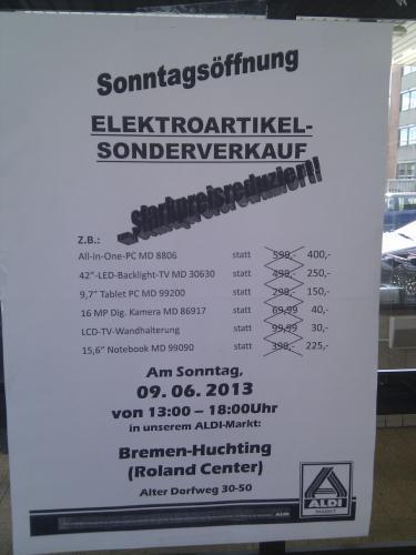 [lokal ALDI Roland Center Bremen] Elektronik-Sonderverkauf am 09.06.