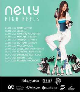 Nelly High Heels Tour 2013: Party, MakeUp, Goodie Bag, Schuhe, VIP-Shuttle - alles umsonst