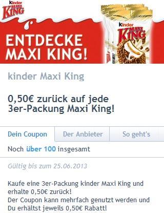 Maxi King 4 Stück bei Netto 99 Cent + 50 Cent Cashback von coupies