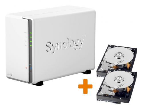 Synology DiskStation DS213j 2-Bay NAS-Server, inkl. 2x 500 GB Festplatte