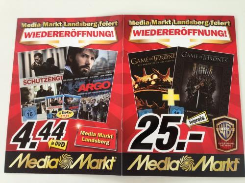 Dvds, Blurays (3D) und Serien ab 4,44 Eur @Media Markt Landsberg am Lech