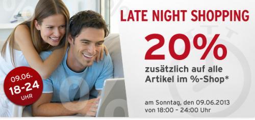 Late Night Shopping - Tchibo Prozente - zusätzlich 20% - Sonntag 18:00 bis 24:00