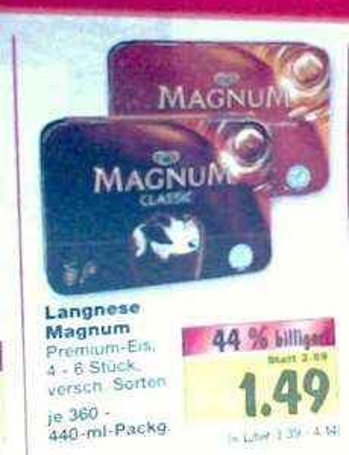 Kaufland Frankenthal Magnum 4-/6-er Pack versch. Sorten 1,49 bis 15.06.2013