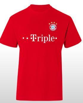 """FC Bayern München Triple T-Shirt """"T-riple"""" im Telekom-Look für 20€ - Einnahmen werden zugunsten von Flutopfern gespendet!"""