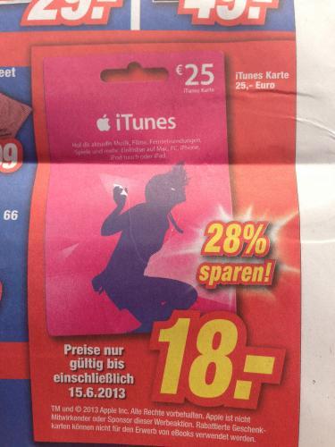 [lokal Allgäu] 25€ iTunes-Karte für 18€ im Expert