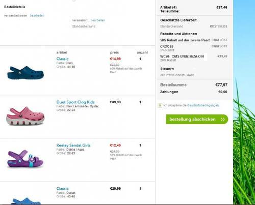 Crocs Schuhe 50% auf das 2. Paar + 20%Newsletter + 5%Gutschein + 6%Quipu