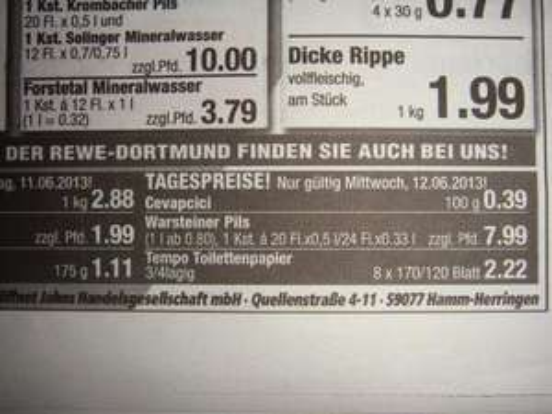 """[Lokal] Warsteiner Pils  (je 20 * 0,5l oder 24*0,33l) zu !!!!! 7,99 EUR !!!!!! zzgl. Pfand bei Jahns (REWE), Hamm  """"Tagesangebot nur am 12.06.2013"""""""