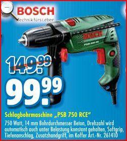 [Praktiker] Bosch PSB 750 RCE für 69,94€ inkl.Versand + Qipu (7%) oder DKB (6%)
