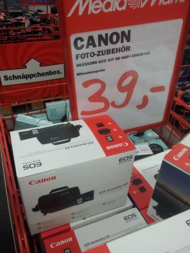 Canon Spezial-Zubehör Kit Tasche 100EG + Speicherkarte SD 8GB + Linsentuch -> 39€ @ Media Markt