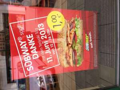 LOKAL: Subway in BW haut Chicken Teriyaki für 1 € raus!