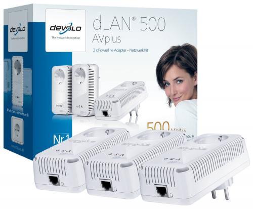 Devolo dLAN 500 AVplus Netzwerk Kit (3x HomePlug AV-Adapter, Netzwerk aus der Steckdose) @ amazon.de für 99€
