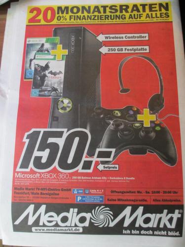 [Lokal Ffm] Xbox 360 250 GB 2 Controller Darksiders 2 Batman Arkham City @MMs Frankfurt