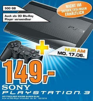PS3 Super Slim 500 GB nur 149€ im Saturn Stuttgart