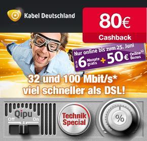 Wieder da! Kabel Deutschland mit 50€ Online-Vorteil + 80€ Cashback von Qipu + bis zu 6 Gratis Monate