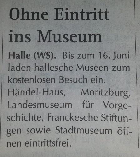 [Kultur] Kostenlos in Halle Saale in fünf Museen
