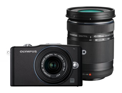 Olympus Pen E-PM1 Systemkamera mit 14-42mm UND 40-150mm Objektiven in schwarz für nur 369,49 EUR inkl. Versand