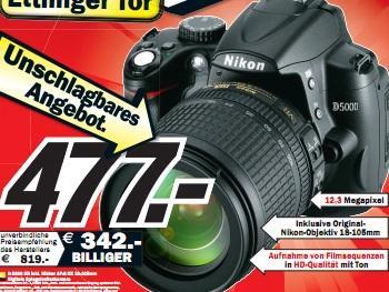 Media Markt Karlsruhe: Nikon D5000 Kit 18-105mm für 477€, Onkyo 509 für 279€ und mehr gute Angebote!