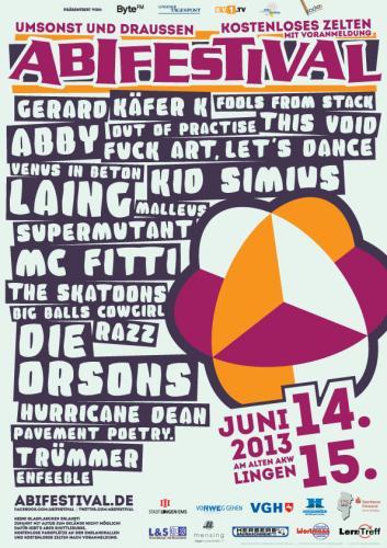 [lokal Lingen (Ems)] Abifestival '13 u.a. mit Kid Simius, MC Fitti, Die Orsons, Laing, ..
