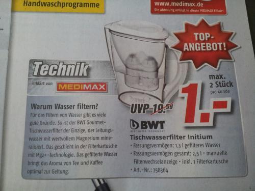 Trinkwasserfilter Initium von BWT bei MediMax für 1,00 Euro statt 19,99!
