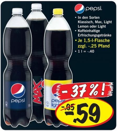 Pepsi 1,5l diverse Sorten @ Lidl (ganze Woche) @ Netto (mit Hund ab Donnerstag) - 25.KW