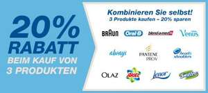 Amazon 20% Rabatt beim kauf von 3 Aktionsprodukten (Ariel, Lenor, Braun, Head and Shoulders usw.)