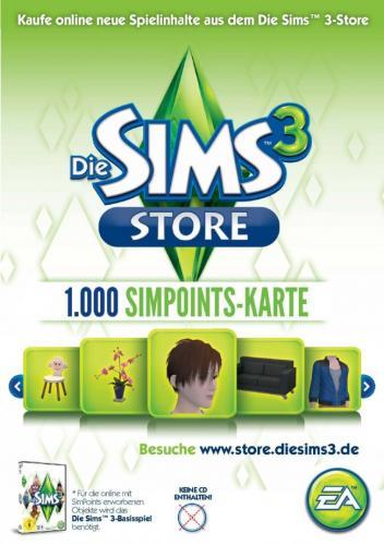 1000 Simpoints Card für den 'Die Sims 3-Store'