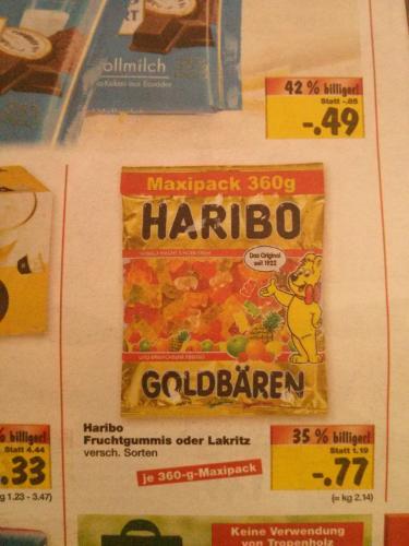 Haribo Maxipack (360 Gramm) für 77 Cent im Kaufland