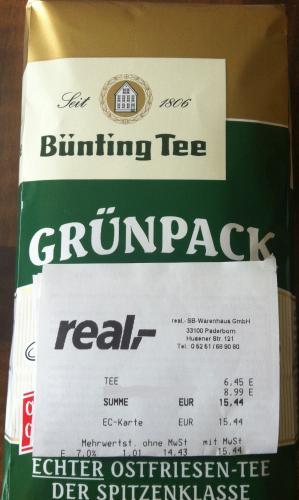 [Lokal Paderborn?] Bünting Tee Grünpack 500g @Real