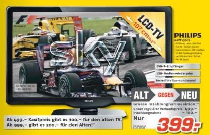 MEDIMAX: TV Alt gegen Neu Aktion z.b. Philips 42PFL3605 399.-