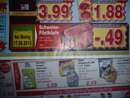 (Kaufpark NRW ) Montag 17.6 : Schweine-Filetköpfe 4,90/ Kg