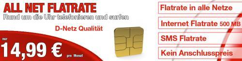 Vodafone All Net Flat für 14,95€ / Mtl mit Einmalzahlung.