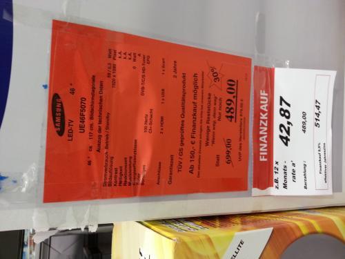 [HH]  Toom Tonndorf Samsung UE46F5070 LED TV für 489 Euro