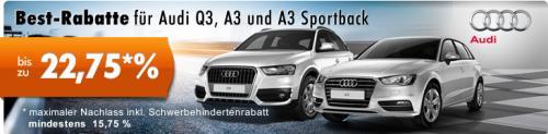 Audi A3 und Audi Q3 mit bis zu 22,75% Rabatt bei carneoo