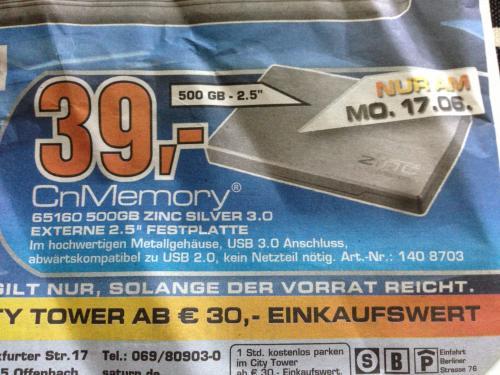 "[Saturn.de/Lokal OF] CnMemory Zinc USB 3.0 2,5"" 500GB"
