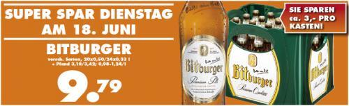 [LOKAL] Kasten Bitburger 20x0,5L oder 24x0,33L nur HEUTE 9,79 €!!! Trink&Spare