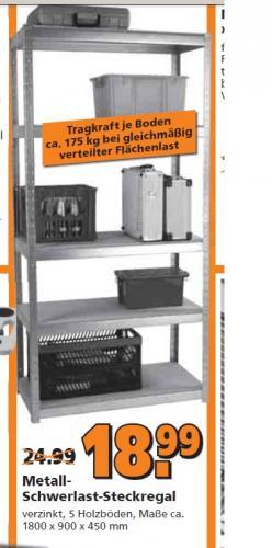 Globus Baumarkt Grünstadt Metall-Schwerlast-Steckregal 175 kg / Boden für 18,99 Euro